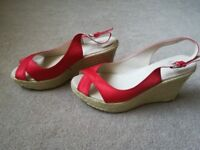 Faith Red Satin Wedge Sandals