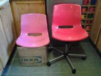 IKEA RED SWIVEL OFFICE CHAIR PLUS NEW ADDITIONAL/SPARE PINK SHELL