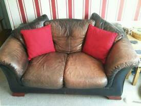 FREE 2 seater rustic brown leather sofa