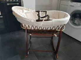 Cream waffle moses basket with dark wicker