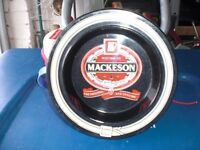 "MACKESON BEER ASHTRAY BLACK - NEVER USED - 6 1/4"" dia x 3/4"" deep -"