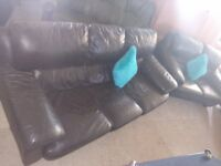 Dark Brown leather 3&2 sofas suite Delivery Poss