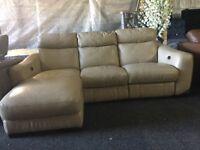 Leather corner lounger power recliner sofa rrp £1795 furniture village Cressida