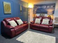 Red leather recliner suite 2 x 2 seater sofas