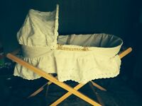 White Moses basket with mamas n papas stand