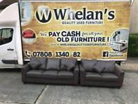 3 and 2 seater sofa in brown leather Hyde