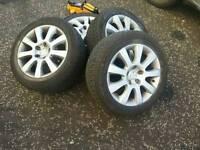 16 inch Skoda vw audi alloy wheels 5x112 with winter tyres