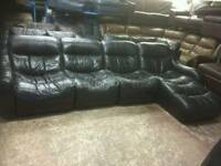 Black genuine leather modular sofa