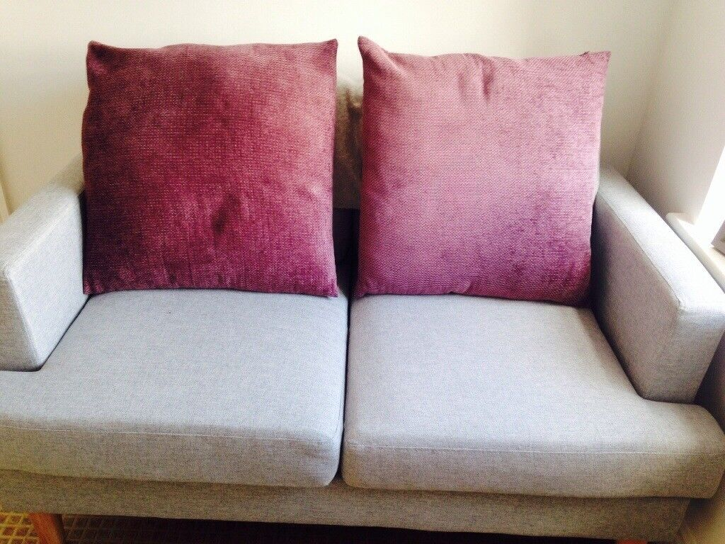 4 X Large Sofa Cushions Dark Pink Purple Excellent Condition