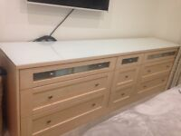 combination of drawers with white glass top excellent condition