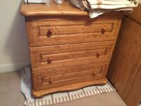 Moving Sale - Wooden kids bedroom set; 1 wardrobe, 1 bed with mattress, 1 chest of drawers; sheets