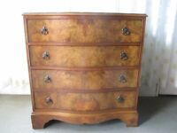 VINTAGE WALNUT VENEER FOUR DRAWER CHEST OF DRAWERS FREE DELIVERY