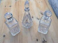 3 beautiful cut glass decanters