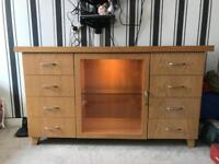 Solid Oak sideboard with display cabinet