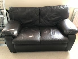 Used brown 2 seater leather sofa. Local pick up only. In good condition. At Whiteley.
