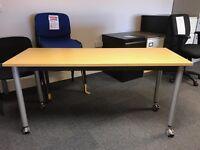 Folding Tables, On Wheels. Finished In Oak. 1500mm Width x 550mm Depth. 6 In Stock.