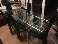 Large glass dining table & 6 chairs - ideal for Christmas lunch!!!