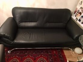 Smart leather black 2 seater sofa + 1 seater chair