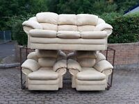 cream suede 3 seater and 2 armchairs sofa suite