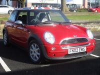 2002 MINI ONE 1.6 3 DOOR * FULL HISTORY * BLK LEATHER * UNION JACK ROOF * PX WELCOME * DELIVERY