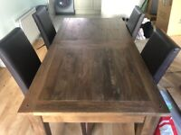 M&S oak dining table and 4 chairs