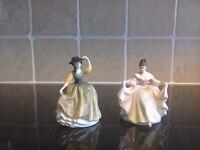 TwoSmall figurines.royal doulton ladies.