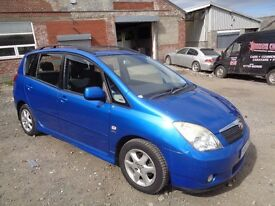 2002 TOYOTA COROLLA VERSO 1.8 VVTI T SPIRIT 5 DOOR HATCHBACK BLUE VERY LONG M.O.T