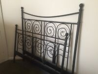 IKEA Noresund Black Metal Double Bed Frame with Wooden Slatted Base