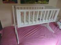 Small White Wooden Cot with Brand New Mattress