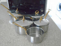 Heavy duty stainless steel rustproof pots and pans with gold coloured handles