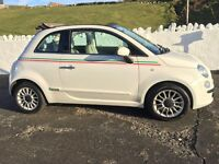 White Fiat 500C with italian stripe, low mileage, £0 road tax, cheap to run