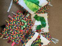 Handmade The hungry caterpillar cot bumper, taggy blanket and soft toy caterpillar