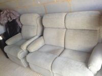 2seater and recliner chair and footstool