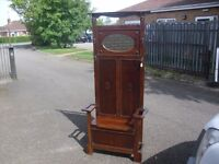 Great Rare Oak 30's Era Seated Hall Stand