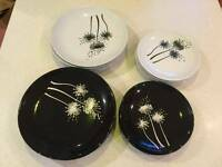 Black and white dinner plates and bowls