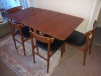 Teak antique table and four chairs