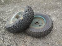 2 garden trolley wheels c/w tyres