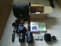 Canon 500d DSLR with lenses and accessories