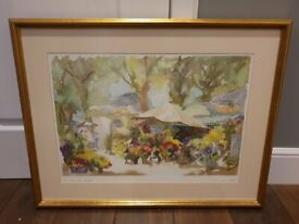 Framed Print of Pierre Jean Llado's Original Watercolour Le Jardin de