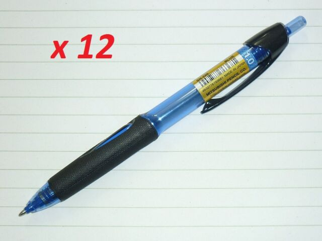 12x Uni Power Tank SN-220 ballpoint pen SN220 upside down wet paper ex cold BLUE