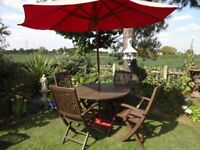 HARTMAN SOLID TEAK GARDEN SET --TABLE WITH 4 CARVER CHAIRS --PARASOL + BASE --