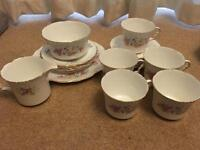 Collingwood collectable tea dinner set bone china pink roses vintage