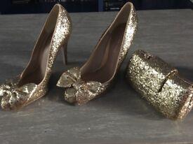 Kurt Geiger- gold sparkles- shoes and matching clutch