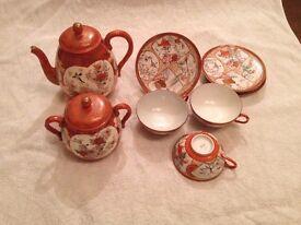 Antique Japenese Kutani Porcelin Tea Set.