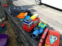 Toy cars and trucks