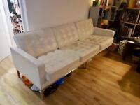 White Comfy Leather Sofa - £40 ONO