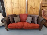 Beautiful Leather & Fabric Tetrad Buster 2-3 Seater Sofa