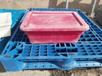RED STORAGE BINS WITH LIDS AND STACKABLE / IDEAL FOR ANIMAL FEED / HORSES/ ETC.