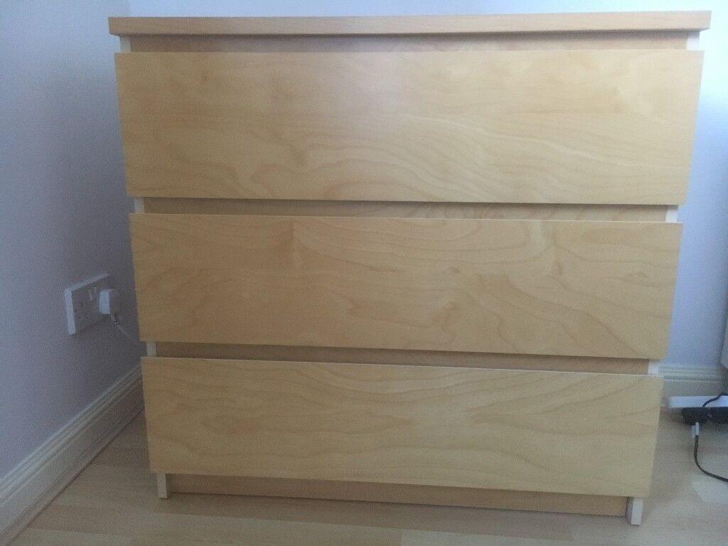 Ikea Malm 3 Drawer Unit Beech Veneer