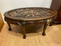 Vintage carved oak oriental coffee table